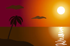 Sunset in the ocean Royalty Free Stock Photography