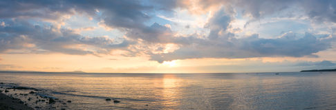 Sunset and ocean view on paradise beach Negara - Bali Island, In Royalty Free Stock Photos