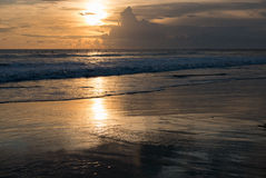 Sunset and ocean view on paradise Chenggu Beach - Bali, Indonesia stock photos