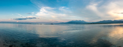 Sunset and ocean view on paradise Gili Air Island, Indonesia Royalty Free Stock Photography