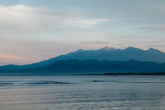 Sunset and ocean view on paradise Gili Air Island, Indonesia Royalty Free Stock Photo