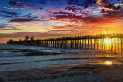 Sunset at the Oceanside Pier stock images
