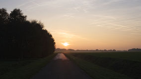 Sunset during a October hike near Ootmarsum (The Netherlands) Royalty Free Stock Image