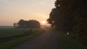 Sunset during a October hike near Ootmarsum (The Netherlands) Stock Images