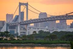 Sunset from odaiba with rainbow bridge Stock Photos