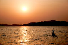 Sunset off the coast. The sunset off the coast of Inchon, Korea Stock Photography