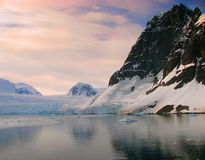 Soft Sunrise Coast of Antarctica Royalty Free Stock Photography