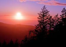 Sunset Off Mt Erie, Washington Stock Image