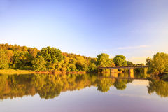 Sunset on Ogosta river, Bulgaria Royalty Free Stock Images