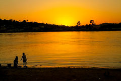 Sunset at Ogowe river, Gabon. Ogowe river is the principal river of Gabon in central Africa Stock Photography