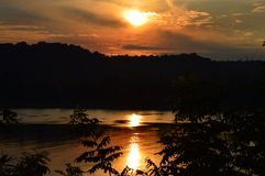 Sunset on the Ohio. Sunset from Louisville, KY on the Ohio River royalty free stock photos