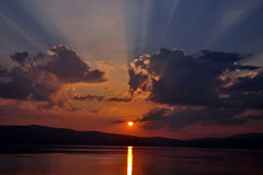 Sunset at Ohrid lake Royalty Free Stock Photography