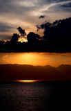 Sunset on the Ohrid Lake, Macedonia Royalty Free Stock Images