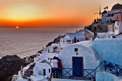 Sunset in Oia - Santorini. A sunset shot taken in the famous Oia town in Santorini, Greece Royalty Free Stock Image