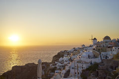 Sunset at Oia, Santorini Stock Image