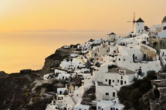 Sunset in Oia, Santorini Stock Photo
