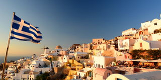 Sunset in Oia. Santorini, Cyclades islands. Greece Royalty Free Stock Photography