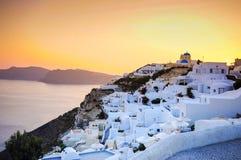 Sunset at Oia, Santorini Royalty Free Stock Photography