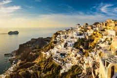 Sunset in Oia, Santorini, Greece Stock Photography