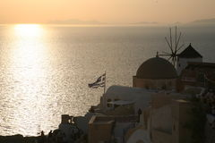 Sunset of Oia Santorini Greek Stock Photography