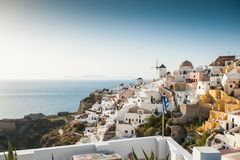 Sunset in Oia on Santorini island Stock Photos