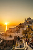 Sunset at Oia, Santorini Islands, Greece Stock Photos