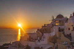 Sunset at Oia, Santorini Islands, Greece Royalty Free Stock Images
