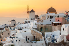 Sunset at Oia Santorini Royalty Free Stock Photography
