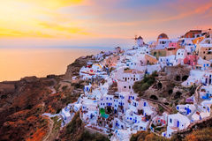 Sunset at Oia Santorini Royalty Free Stock Photos