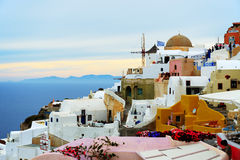 The sunset in Oia town Stock Image
