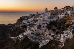 Sunset Oia town Santorini Greece royalty free stock photo