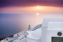 Sunset at Oia town, Santorini island, Greece. Royalty Free Stock Photography