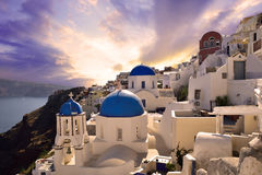 Sunset in Oia village Royalty Free Stock Image
