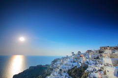 Sunset in Oia village, Greece Royalty Free Stock Photography