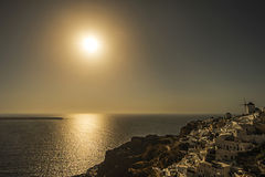 Sunset in Oia Village, Santorini Royalty Free Stock Images