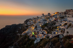 Sunset Oia village at Santorini Greece , cyclades Royalty Free Stock Photo