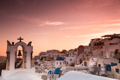The sunset at Oia village in Santorini island in Greece.  Royalty Free Stock Photography