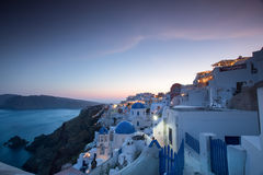 The sunset at Oia village in Santorini island in Greece.  Stock Image