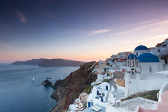The sunset at Oia village in Santorini  Stock Photography