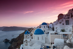 The sunset at Oia village in Santorini  Stock Photo