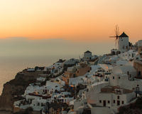 Sunset at Oia Village. On Santorini island, Greece stock image
