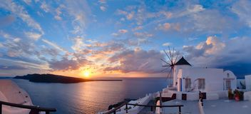 Sunset in Oia village on Santorini island, Greece Stock Images