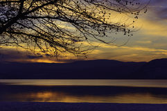 Sunset on Okanagan Lake in Winter Stock Image
