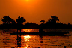 Sunset in Okavango Delta. Mokoro in Okavango Delta (Botswana Royalty Free Stock Photography