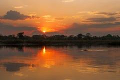 Sunset at Okavango River, Namibia Royalty Free Stock Photos