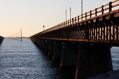 Sunset on Old 7 Mile Bridge. Sunset brings out the strong structural lines of the old 7 Mile Bridge in the Florida keys Royalty Free Stock Photography