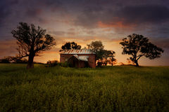 Sunset Old Abandoned Farm House Royalty Free Stock Images