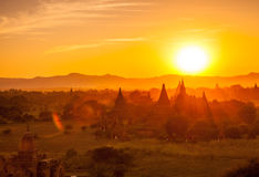 The sunset in Old Bagan. The sky before the sun has gone from the Old Bagan, Myanmar stock image