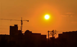 Sunset in old block of city. Royalty Free Stock Photography
