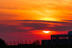 Sunset. and old building. Royalty Free Stock Photo